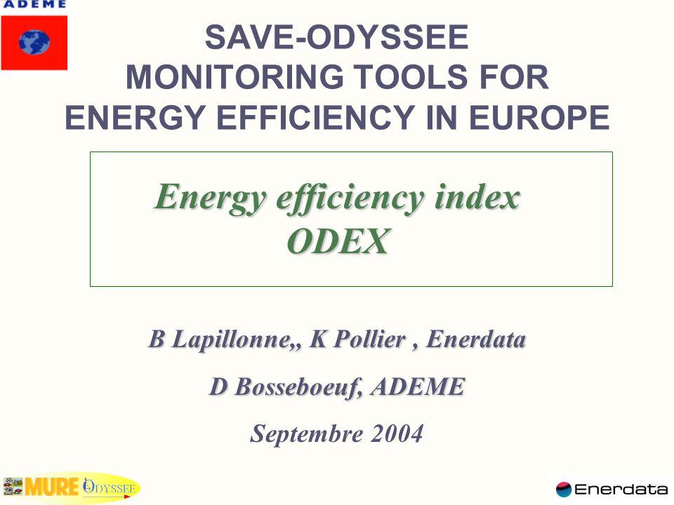 Annex 4: Energy efficiency index Example of calculation Energy efficiency index 1990199119921993 Spce heating100989590 Other uses100107113115 Total100102 100 IE 90 = 100 IE 91 = IE 90 x (98 x 0.60 + 107 x 0.40 = 102 IE 92 = IE 1991 x (95/98 x 0.59 + 113/107 x 0.41) = 102 IE 93 = IE 1992 x (90/95 x 0.55 + 115/113 x 0.45) = 100