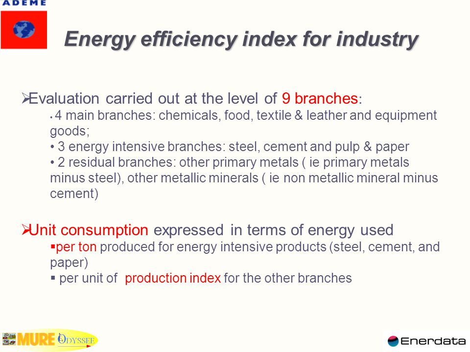 Energy efficiency trends for industry Energy efficiency trends for industry Energy efficiency progress : 12% in the EU15 ; increased gain since 1997 Revised indicator