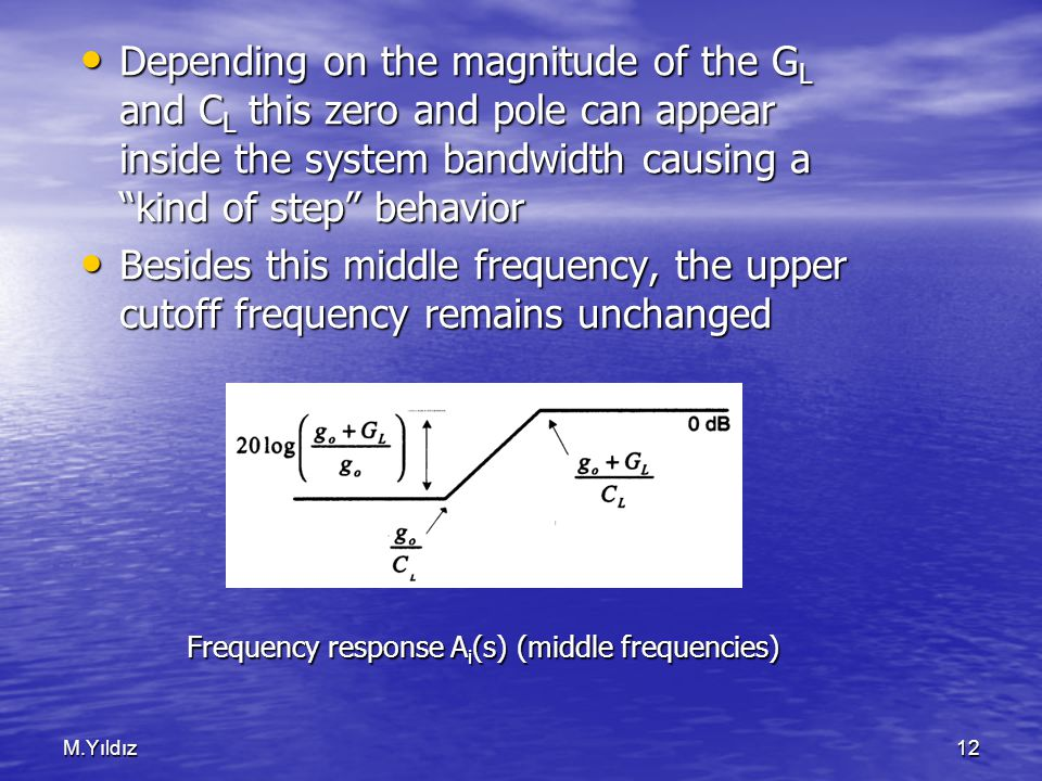 M.Yıldız12 Depending on the magnitude of the G L and C L this zero and pole can appear inside the system bandwidth causing a kind of step behavior Depending on the magnitude of the G L and C L this zero and pole can appear inside the system bandwidth causing a kind of step behavior Besides this middle frequency, the upper cutoff frequency remains unchanged Besides this middle frequency, the upper cutoff frequency remains unchanged Frequency response A i (s) (middle frequencies)