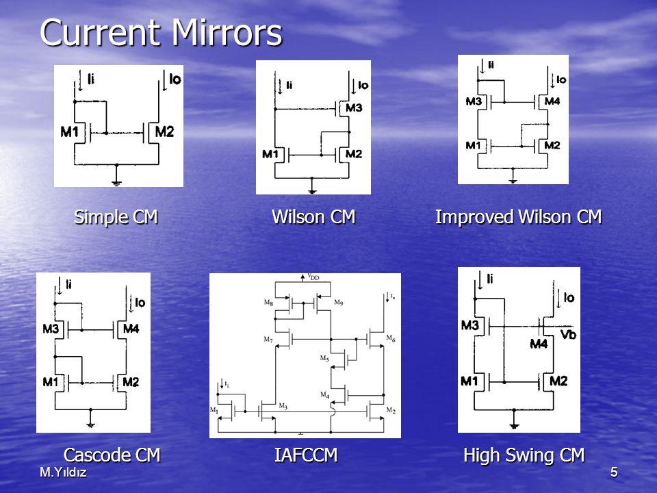 M.Yıldız5 Current Mirrors Simple CM Wilson CM Improved Wilson CM Simple CM Wilson CM Improved Wilson CM Cascode CM IAFCCM High Swing CM Cascode CM IAF