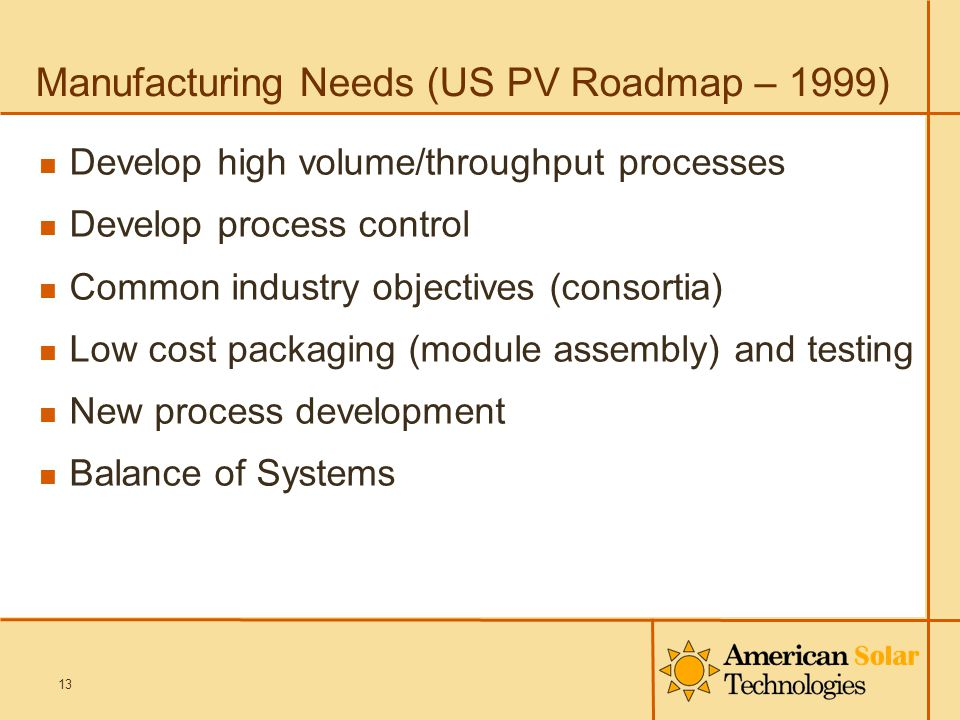 Manufacturing Needs (US PV Roadmap – 1999) Develop high volume/throughput processes Develop process control Common industry objectives (consortia) Low