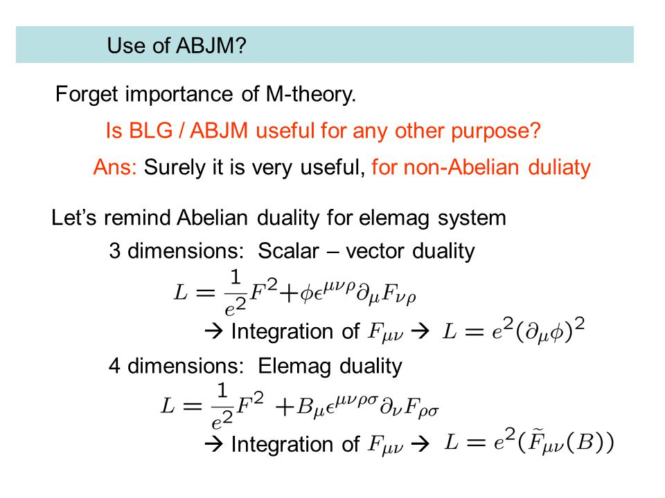 Use of ABJM. Forget importance of M-theory. Is BLG / ABJM useful for any other purpose.