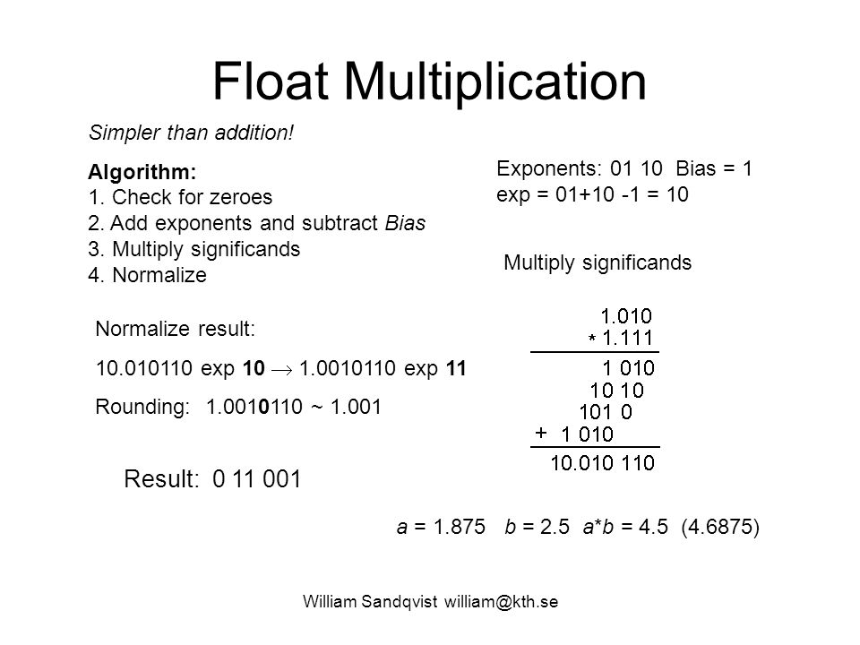 William Sandqvist william@kth.se Float Multiplication Simpler than addition.