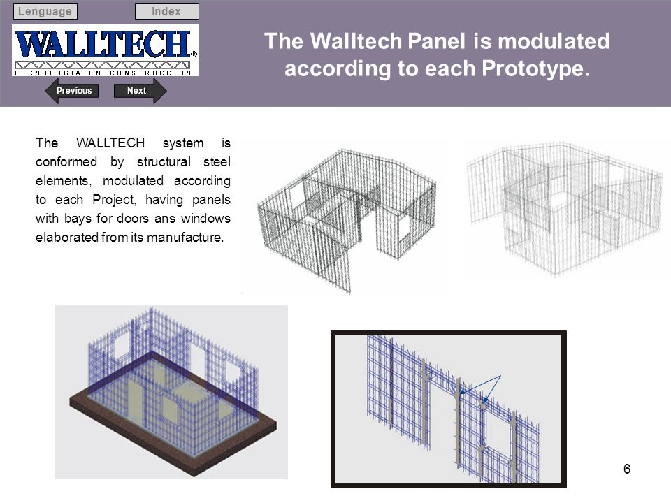 Next Previous IndexLenguage 6 The WALLTECH system is conformed by structural steel elements, modulated according to each Project, having panels with b