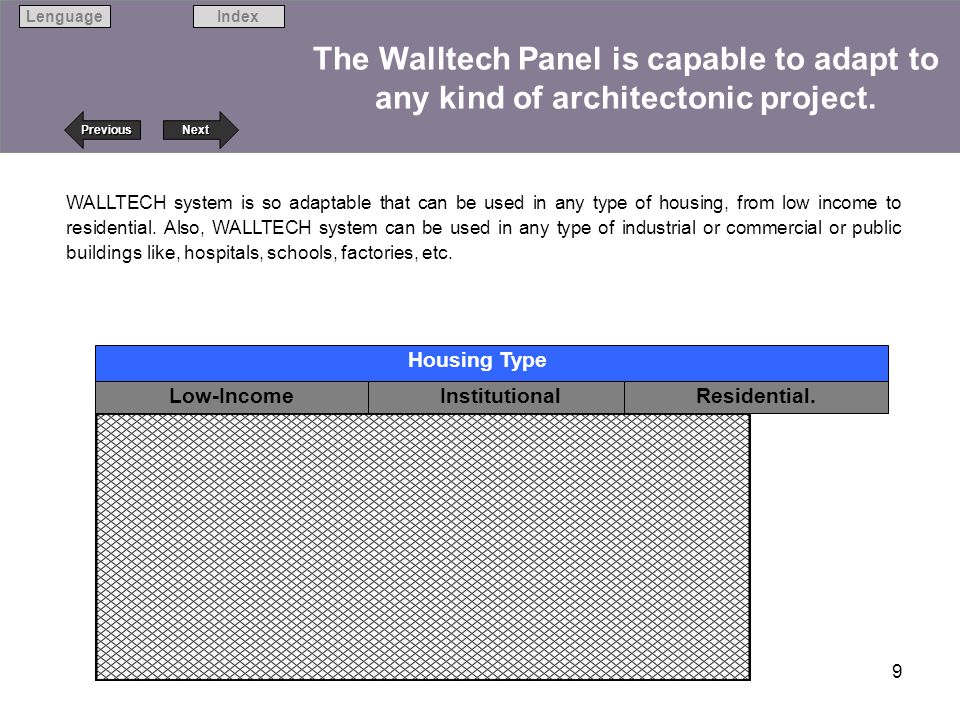 Next Previous IndexLenguage 9 The Walltech Panel is capable to adapt to any kind of architectonic project. Low-Income InstitutionalResidential. Housin