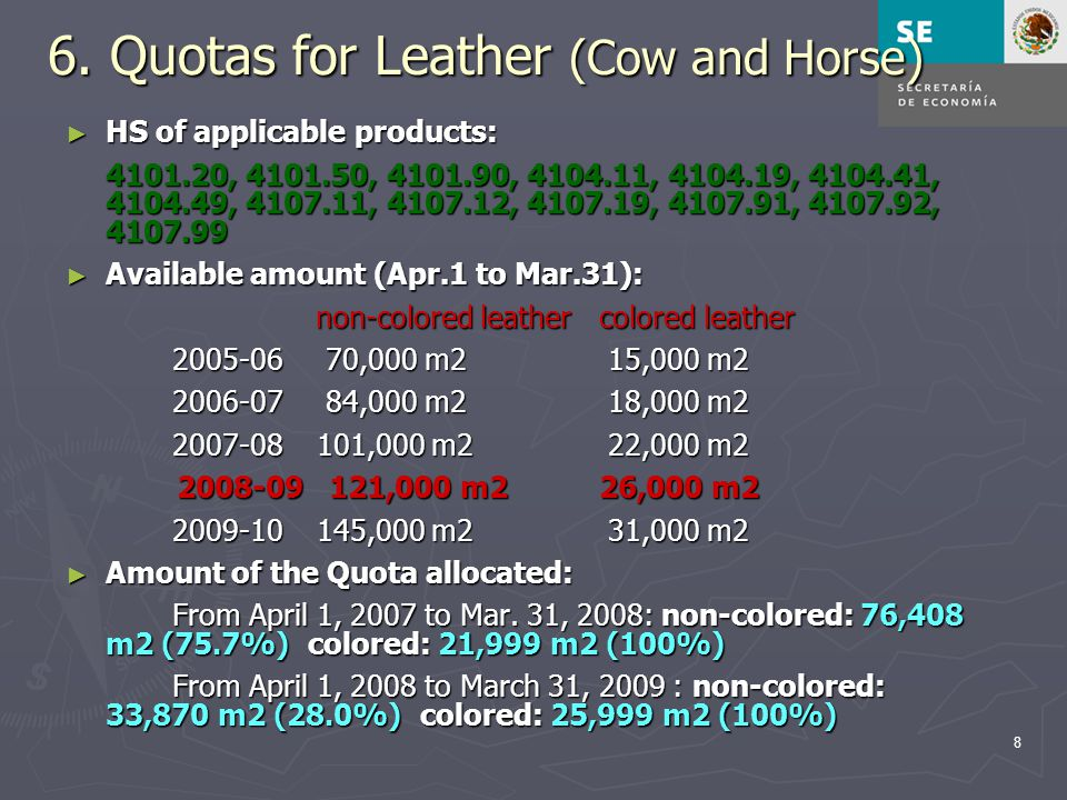 8 6. Quotas for Leather (Cow and Horse) ► HS of applicable products: 4101.20, 4101.50, 4101.90, 4104.11, 4104.19, 4104.41, 4104.49, 4107.11, 4107.12,