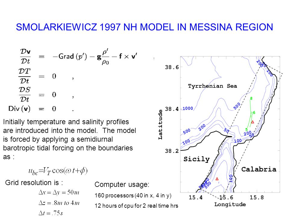 SMOLARKIEWICZ 1997 NH MODEL IN MESSINA REGION Initially temperature and salinity profiles are introduced into the model.