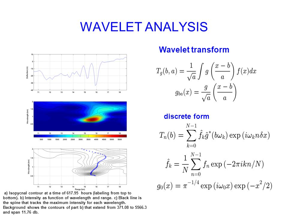 WAVELET ANALYSIS a) Isopycnal contour at a time of 617.95 hours (labeling from top to bottom).