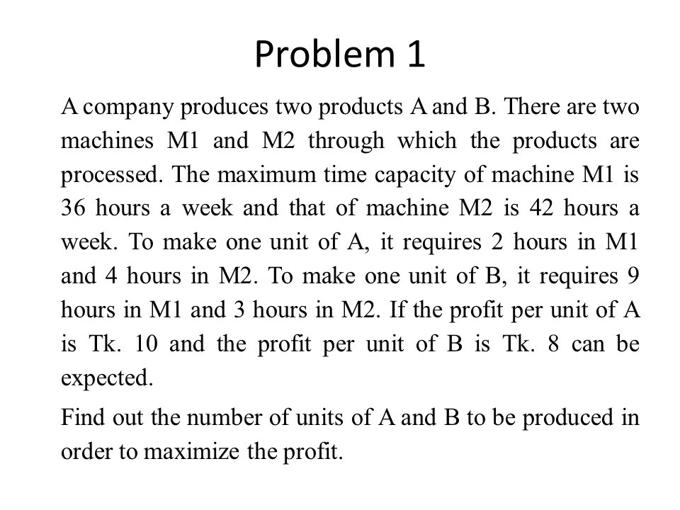 Problem 1 A company produces two products A and B. There are two machines M1 and M2 through which the products are processed. The maximum time capacit