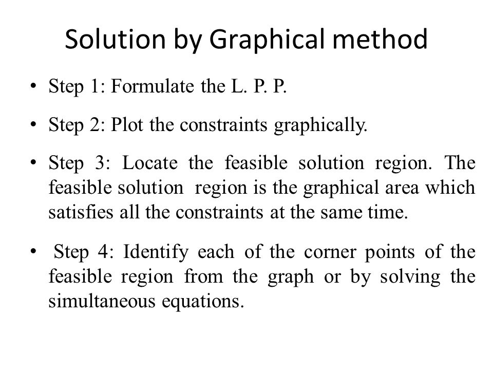 Solution by Graphical method Step 1: Formulate the L. P. P. Step 2: Plot the constraints graphically. Step 3: Locate the feasible solution region. The