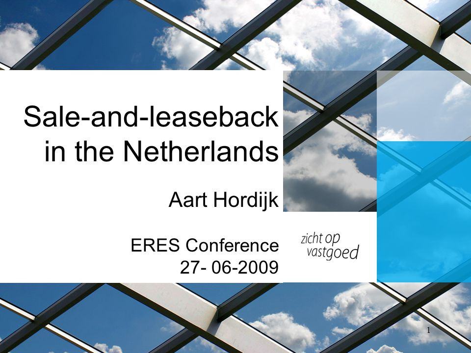 Introduction Sale-and-leaseback: Arrangement in which one party sells a property to a buyer and the buyer immediately leases the property back to the seller Goal: Find out how market conform rents are in sale-and-leaseback transactions in The Netherlands 2