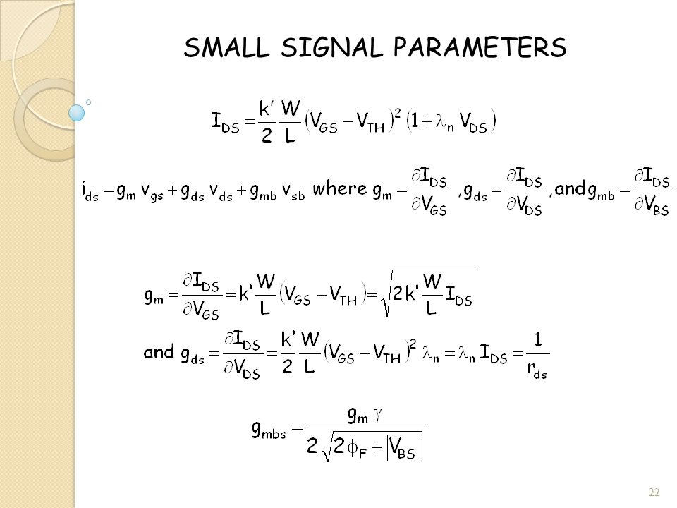 SMALL SIGNAL PARAMETERS 22