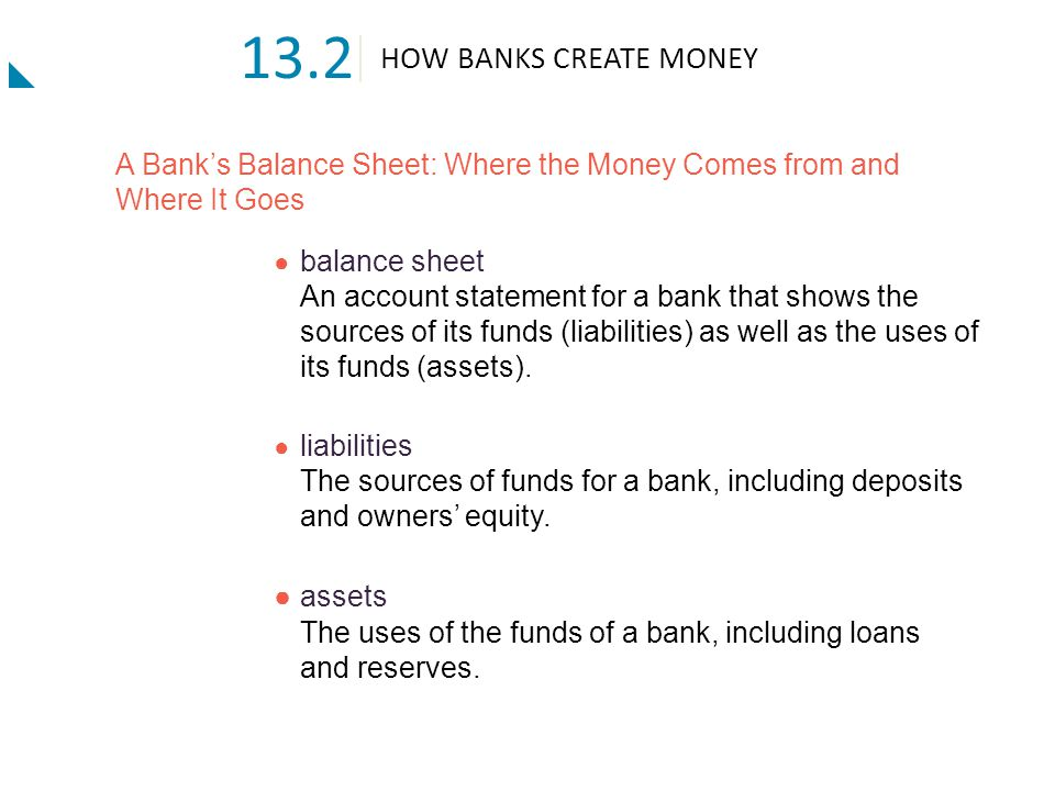 HOW BANKS CREATE MONEY 13.2 A Bank's Balance Sheet: Where the Money Comes from and Where It Goes ● owners' equity The funds provided to a bank by its owners.