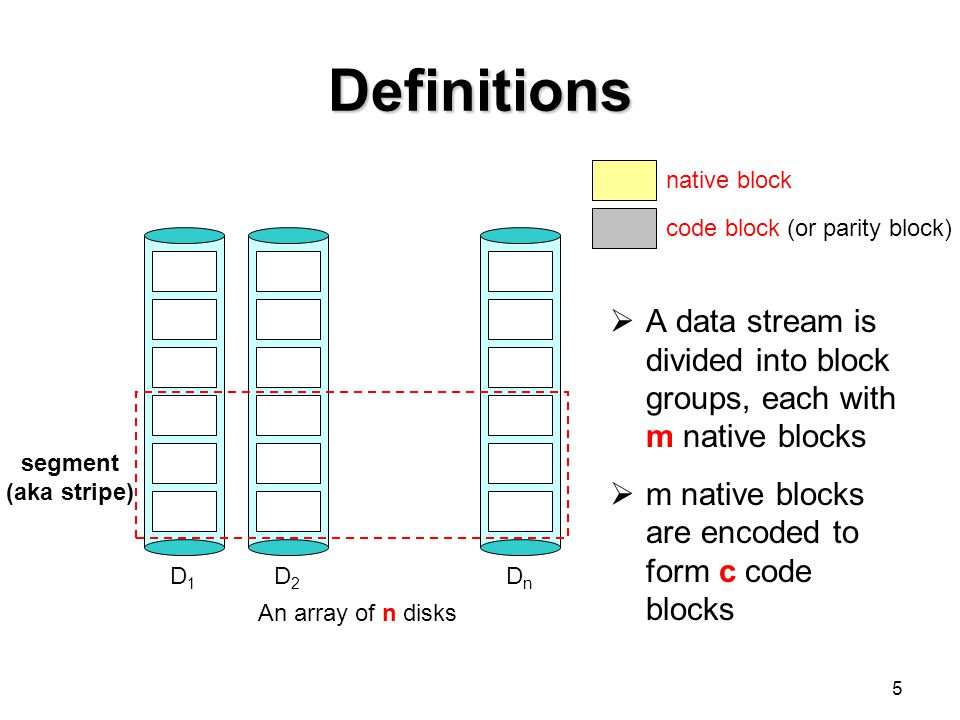 5 Definitions D1D1 D2D2 DnDn segment (aka stripe) native block code block (or parity block)  A data stream is divided into block groups, each with m native blocks  m native blocks are encoded to form c code blocks An array of n disks