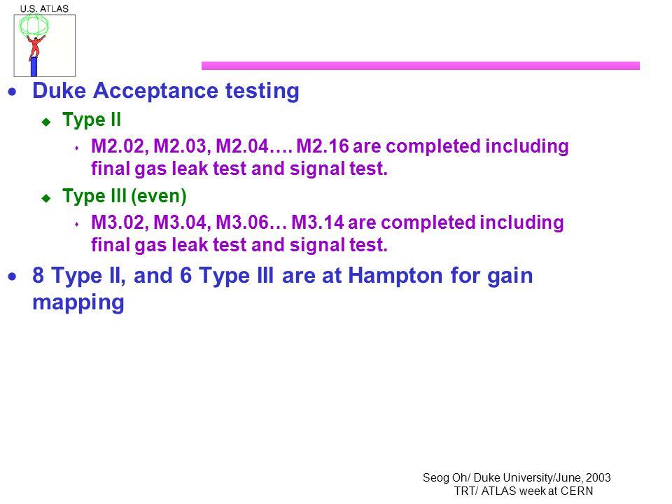 Seog Oh/ Duke University/June, 2003 TRT/ ATLAS week at CERN  Duke Acceptance testing  Type II  M2.02, M2.03, M2.04…. M2.16 are completed including