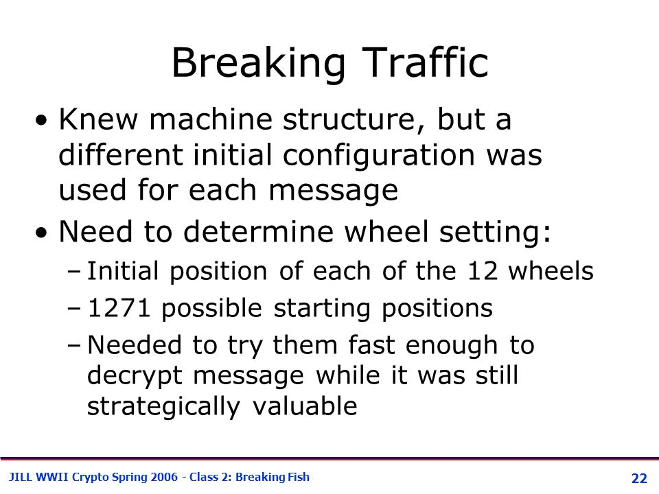 22 JILL WWII Crypto Spring 2006 - Class 2: Breaking Fish Breaking Traffic Knew machine structure, but a different initial configuration was used for e