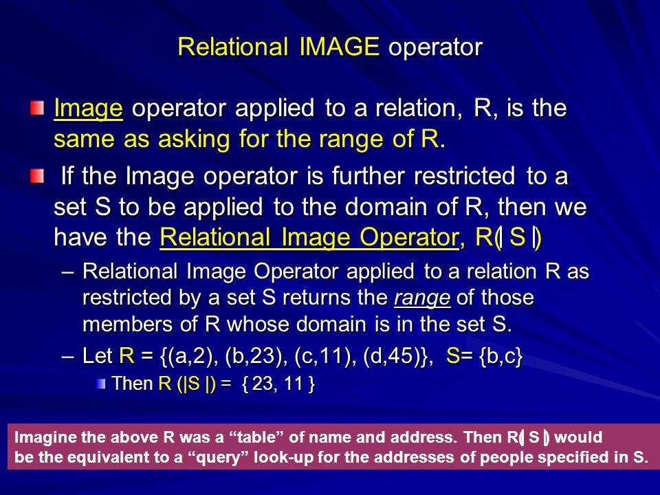 Relational IMAGE operator Image operator applied to a relation, R, is the same as asking for the range of R.