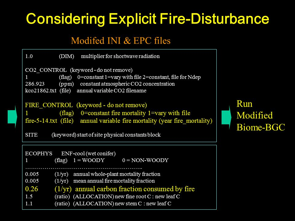 Considering Explicit Fire-Disturbance 1.0 (DIM) multiplier for shortwave radiation CO2_CONTROL (keyword - do not remove) 1 (flag) 0=constant 1=vary with file 2=constant, file for Ndep 286.923 (ppm) constant atmospheric CO2 concentration kco21862.txt (file) annual variable CO2 filename FIRE_CONTROL (keyword - do not remove) 1 (flag) 0=constant fire mortality 1=vary with file fire-5-14.txt (file) annual variable fire mortality (year fire_mortality) SITE (keyword) start of site physical constants block Modifed INI & EPC files Run Modified Biome-BGC ECOPHYS ENF-cool (wet conifer) 1 (flag) 1 = WOODY 0 = NON-WOODY …………………………………………………….