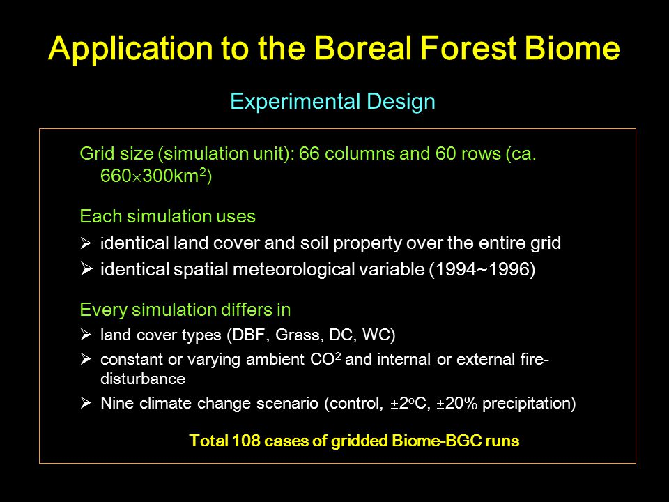 Application to the Boreal Forest Biome Grid size (simulation unit): 66 columns and 60 rows (ca.