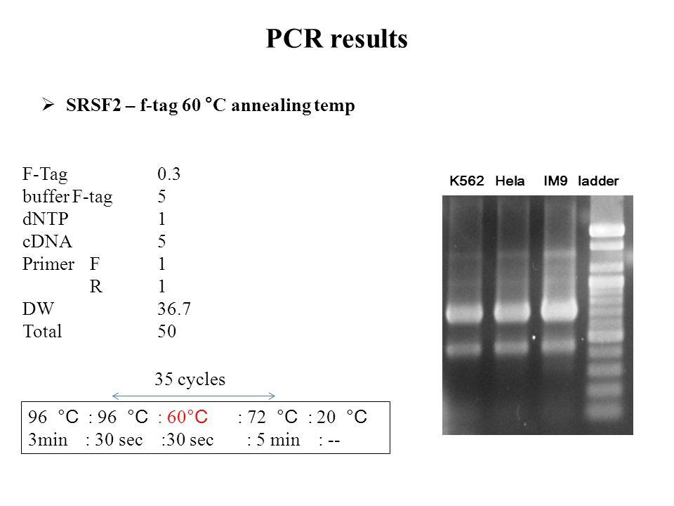 F-Tag 0.3 buffer F-tag5 dNTP1 cDNA5 Primer F1 R1 DW36.7 Total 50 96 °C : 96 °C : 60 °C : 72 °C : 20 °C 3min : 30 sec :30 sec : 5 min : -- 35 cycles PC