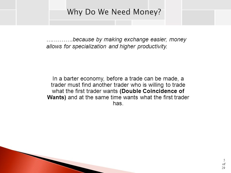 ….……….because by making exchange easier, money allows for specialization and higher productivity.