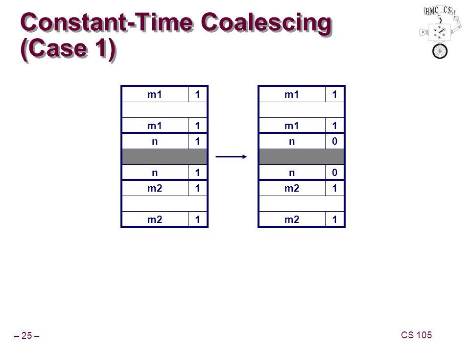– 25 – CS 105 m11 Constant-Time Coalescing (Case 1) m11 n1 n1 m21 1 m11 1 n0 n0 m21 1