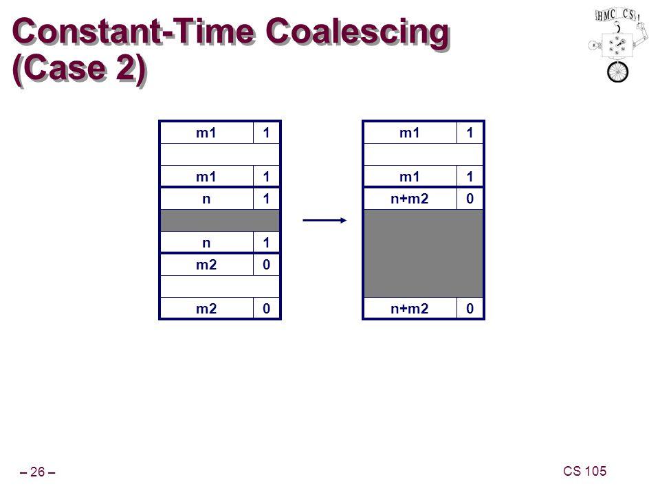 – 26 – CS 105 m11 Constant-Time Coalescing (Case 2) m11 n+m20 0 m11 1 n1 n1 m20 0