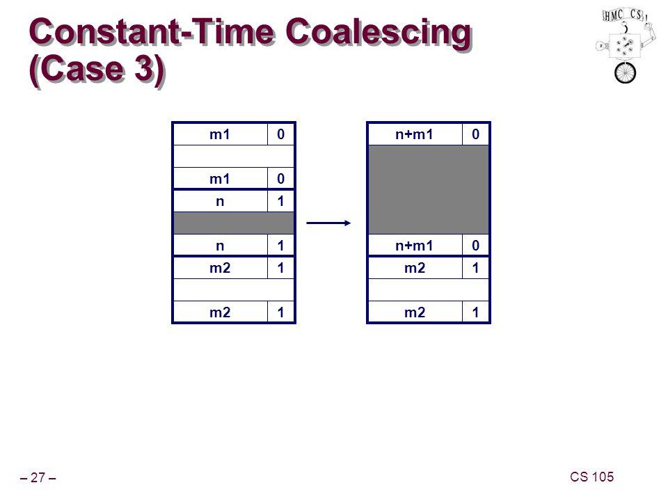 – 27 – CS 105 m10 Constant-Time Coalescing (Case 3) m10 n1 n1 m21 1 n+m10 0 m21 1