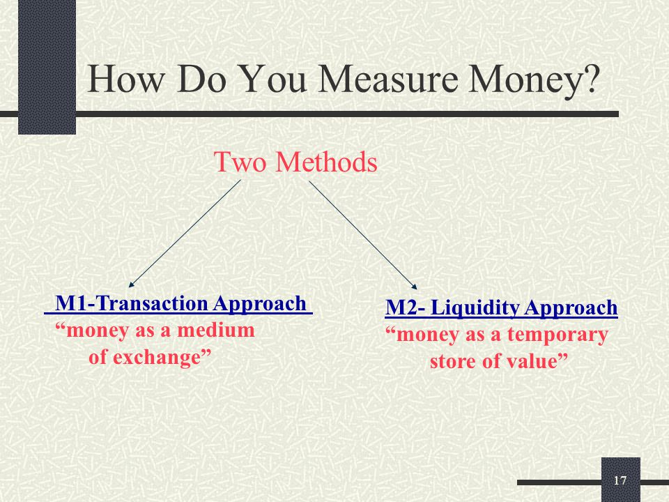 """17 How Do You Measure Money? Two Methods M1-Transaction Approach """"money as a medium of exchange"""" M2- Liquidity Approach """"money as a temporary store of"""