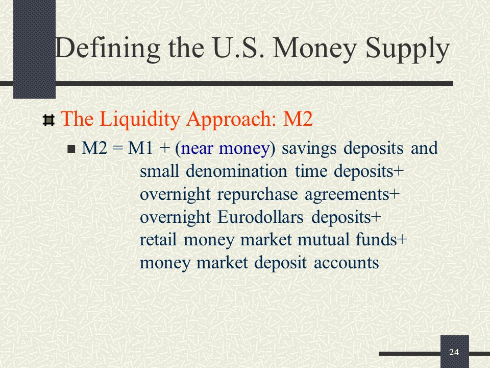 24 Defining the U.S. Money Supply The Liquidity Approach: M2 M2 = M1 + (near money) savings deposits and small denomination time deposits+ overnight r