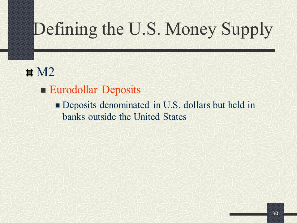 30 Defining the U.S. Money Supply M2 Eurodollar Deposits Deposits denominated in U.S. dollars but held in banks outside the United States