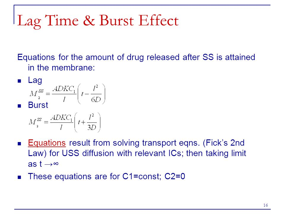 16 Lag Time & Burst Effect Equations for the amount of drug released after SS is attained in the membrane: Lag Burst Equations result from solving tra