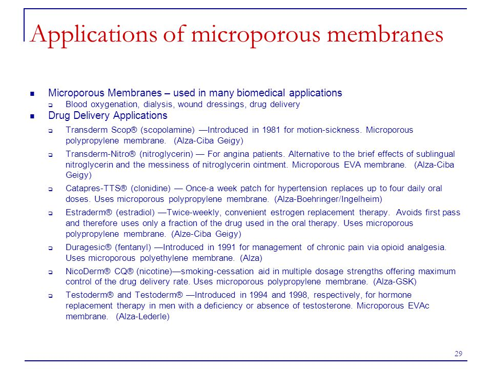 29 Applications of microporous membranes Microporous Membranes – used in many biomedical applications  Blood oxygenation, dialysis, wound dressings,