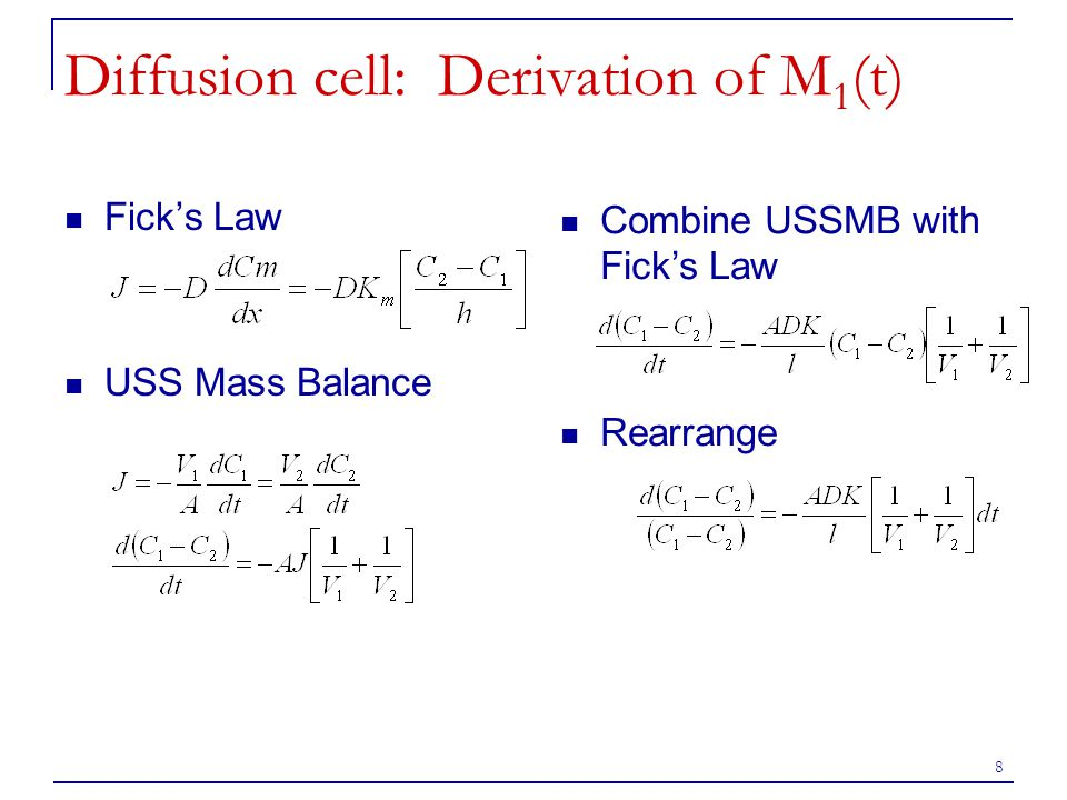 9 Diffusion cell Integrate with IC: C 1 -C 2 = C 1 0 -C 2 0  Apply mass balance  Substitute