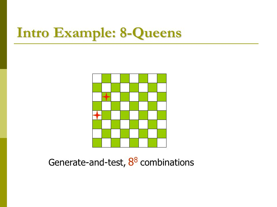 Intro Example: 8-Queens Generate-and-test, 8 8 combinations