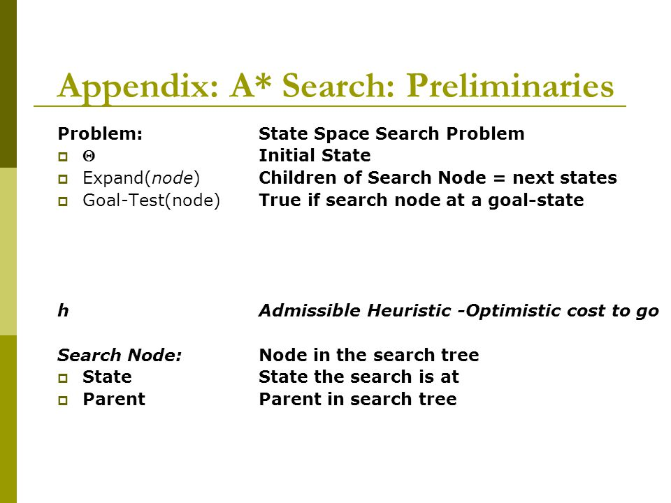 Appendix: A* Search: Preliminaries Problem: State Space Search Problem  Initial State  Expand(node) Children of Search Node = next states  Goal-Te