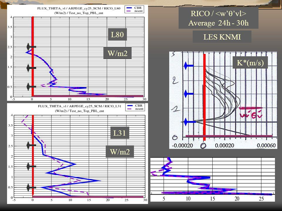 L80 LES KNMI RICO / Average 24h - 30h W/m2 K*(m/s) W/m2 L31