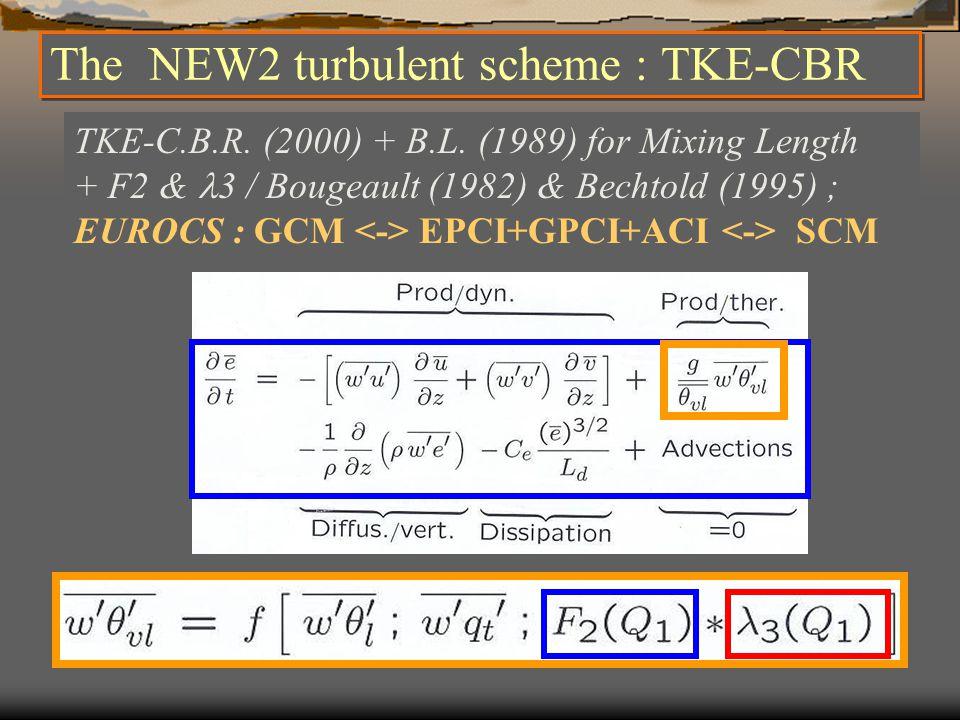 The NEW2 turbulent scheme : TKE-CBR TKE-C.B.R. (2000) + B.L.