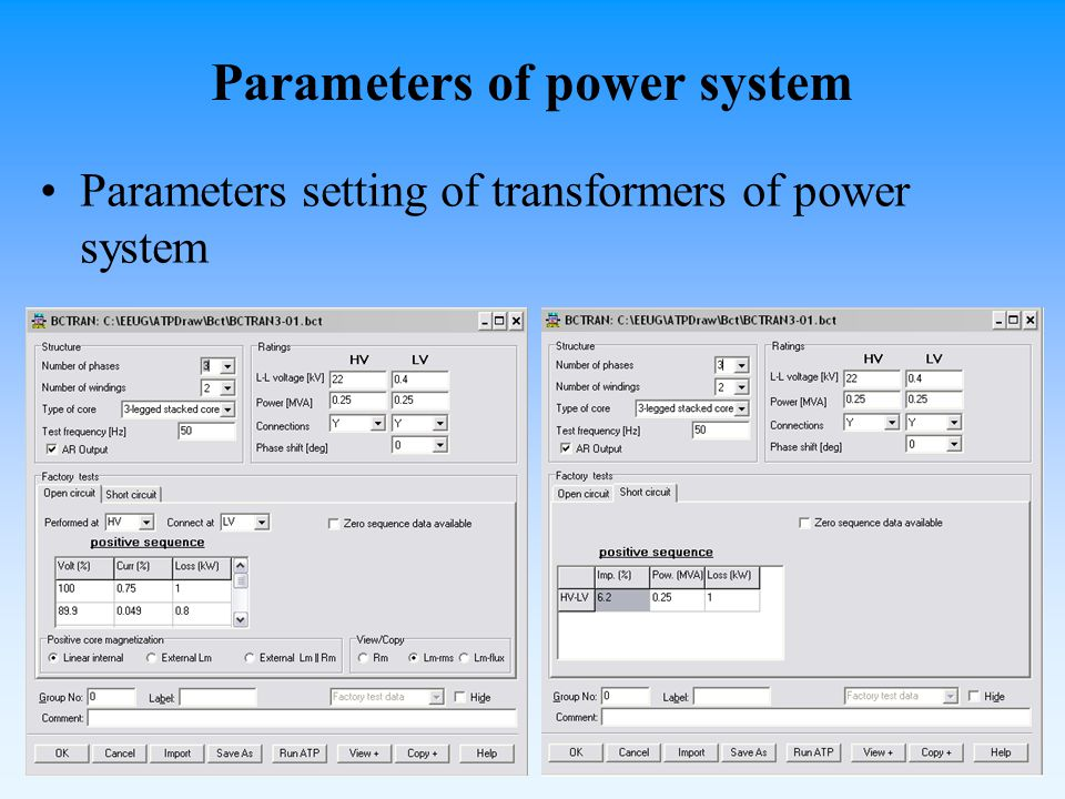 Parameters of power system Parameters setting of transformers of power system