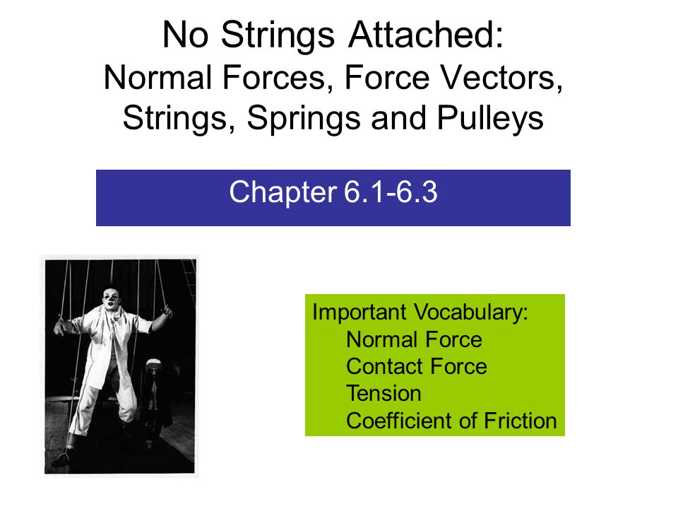 No Strings Attached: Normal Forces, Force Vectors, Strings, Springs and Pulleys Chapter 6.1-6.3 Important Vocabulary: Normal Force Contact Force Tension Coefficient of Friction