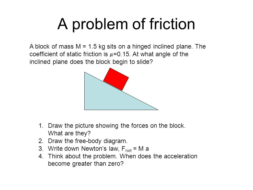 A problem of friction A block of mass M = 1.5 kg sits on a hinged inclined plane.