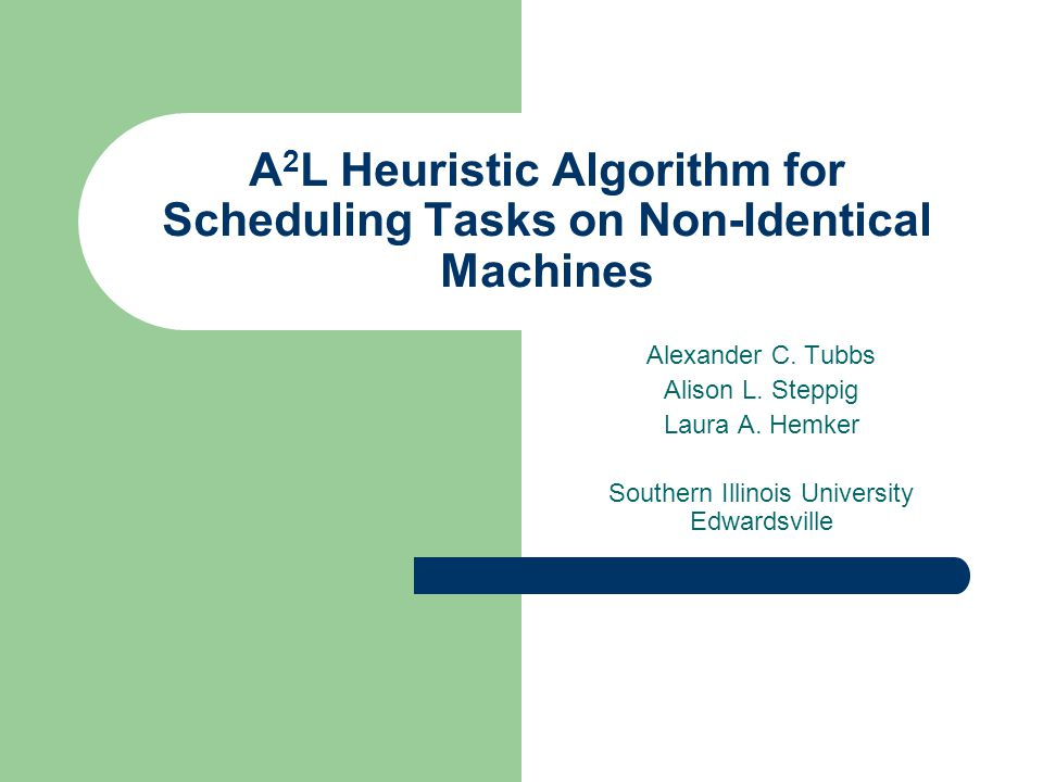 Conclusions The A 2 L heuristic algorithm proved to be capable of minimizing average flow-time for every scheduling problem of non-identical machines without preemption that we applied it to.
