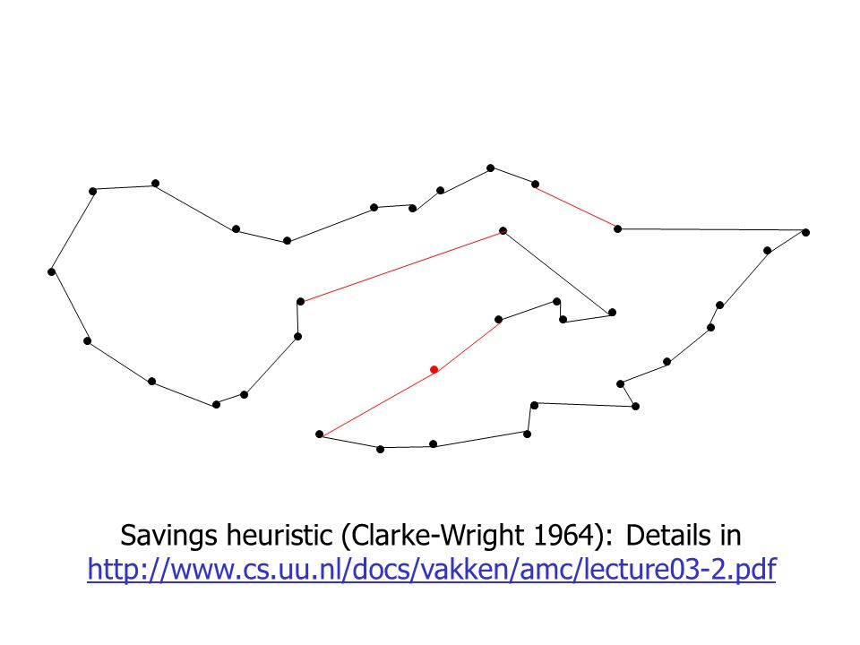 Savings heuristic (Clarke-Wright 1964): Details in http://www.cs.uu.nl/docs/vakken/amc/lecture03-2.pdf