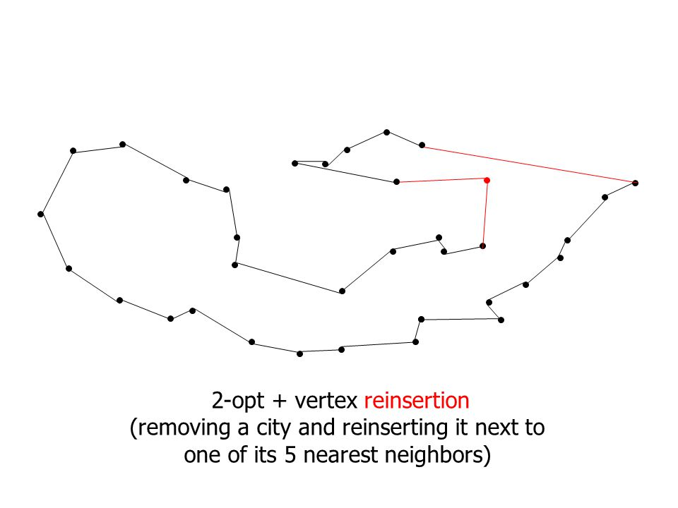 2-opt + vertex reinsertion (removing a city and reinserting it next to one of its 5 nearest neighbors)