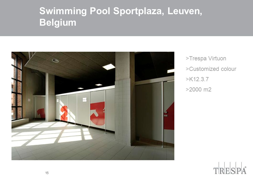 15 Swimming Pool Sportplaza, Leuven, Belgium >Trespa Virtuon >Customized colour >K12.3.7 >2000 m2