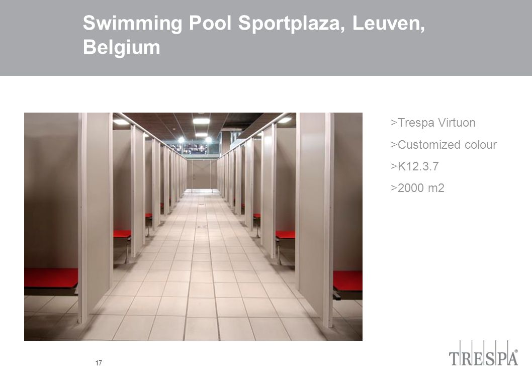 17 Swimming Pool Sportplaza, Leuven, Belgium >Trespa Virtuon >Customized colour >K12.3.7 >2000 m2