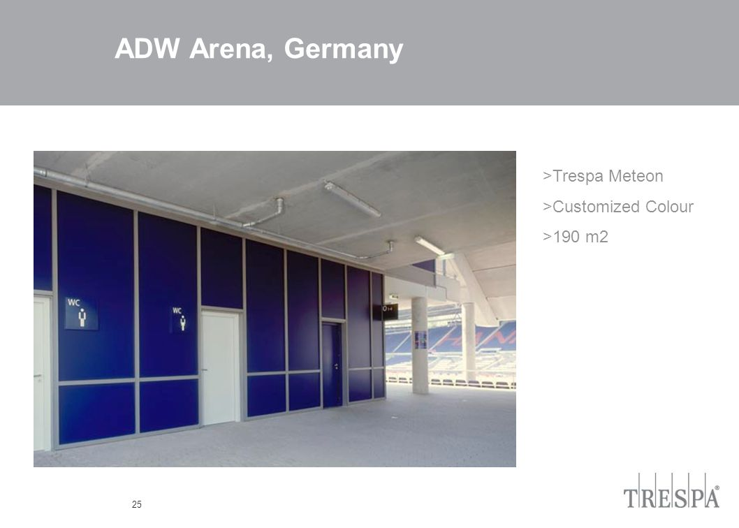 25 ADW Arena, Germany >Trespa Meteon >Customized Colour >190 m2