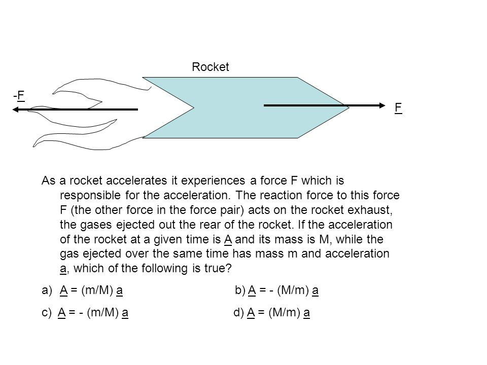 F As a rocket accelerates it experiences a force F which is responsible for the acceleration.