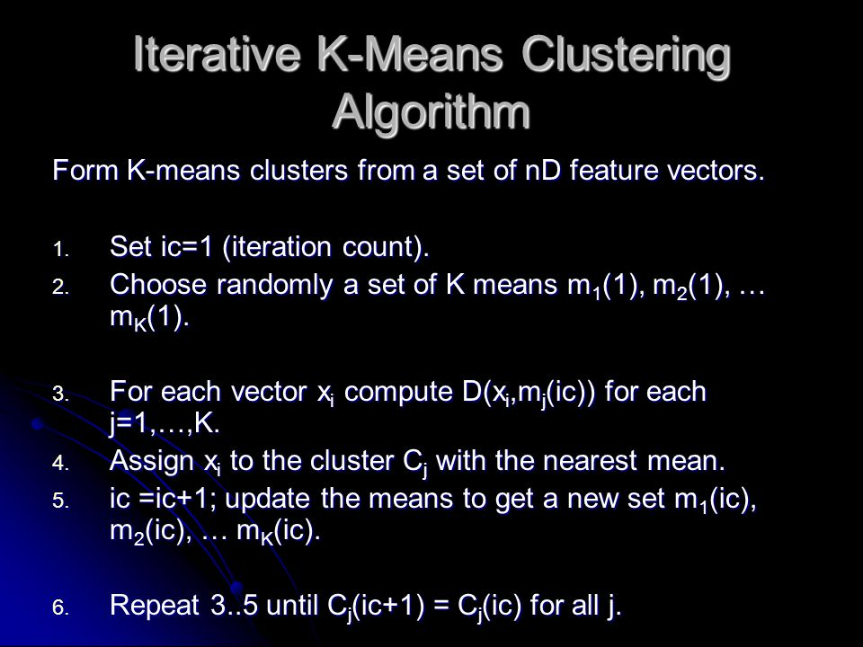 Iterative K-Means Clustering Algorithm Form K-means clusters from a set of nD feature vectors.