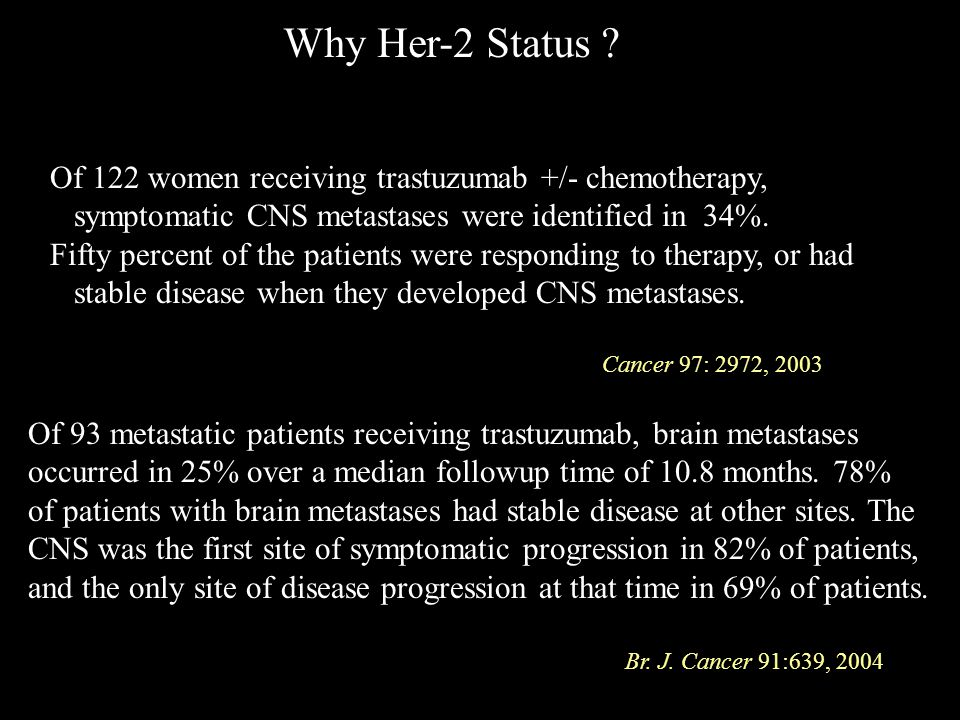 Of 122 women receiving trastuzumab +/- chemotherapy, symptomatic CNS metastases were identified in 34%. Fifty percent of the patients were responding